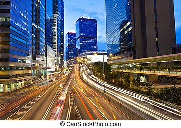 kong, hong, ocupado, tráfico, noche