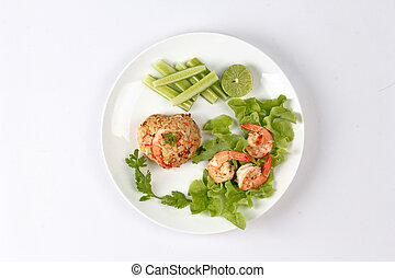 kong, khao, cuscinetto, fritto, tailandese, riso, chiamata, gamberetto