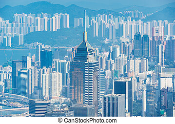 kong., time., hong, jour, vue ville, district