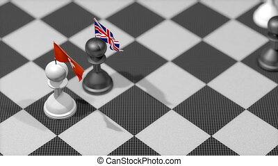 "kong, uni, ""chess, pion, pays, drapeau, kingdom"", hong"