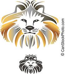 konge, løve, vektor, logo