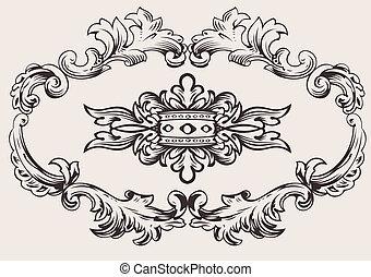 kongelige, ramme, dekoration, vektor