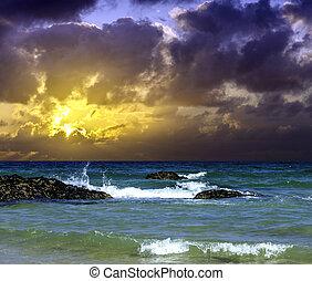 kongerige, foren, hen, havet, dramatiske, atlantisk, cornwall, solopgang