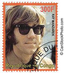 kongo, -, zirka, 2007, :, briefmarke, gedruckt, in, kongo,...