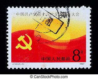 kongres, dupnutí, cpc, 13, čína, tištěný, ukazuje