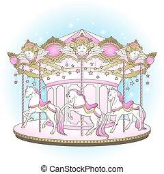 konie, iść, wesoły, carousel, okrągły