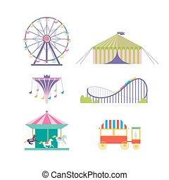 konie, koło, set., park, coaster, ferris, wektor, rozrywka, ...