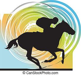 konie, silhouettes., abstrakcyjny, wektor