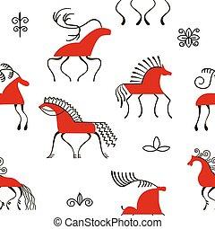 konie, simplicity., paintings., krajowy, sześć, pattern., seamless, skandynaw, czerwony, handicrafts., ornaments., oryginał, lud, czarowny