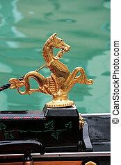 konie, złoty, wenecja, gondolas., tradycyjny, ozdoba, morze, symbol: