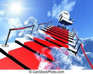 koniec, fotel, nowoczesny, droga, schody, w górę