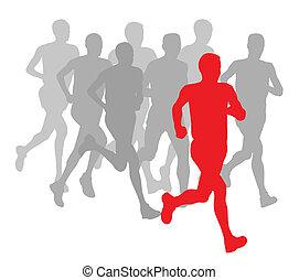 koniec, grupa, afisz, zwycięzca, wektor, maraton, tło, biegacze, mężczyźni