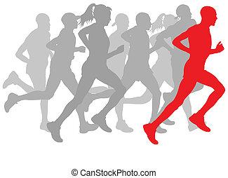 koniec, grupa, zwycięzca, wektor, tło, biegacze