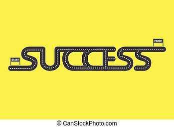 koniec, powodzenie, żółty, początek, tło, droga