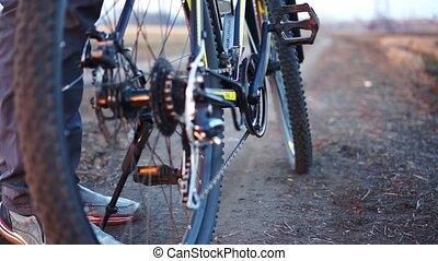 koniec, rower, time., zachód słońca, training., zmarszczenie, człowiek