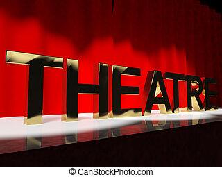 koniec, teatr, zachód, działanie, broadway, słowo, ...