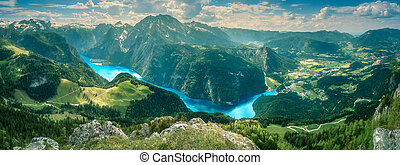 Konigsee lake in Berchtesgaden National Park - View of the...