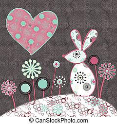 konijn-met-hart - Liefde en konijn, romantisch en schattig,...