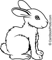 konijn, stylised, illustratie