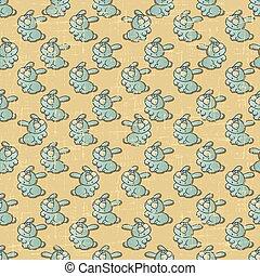 konijnen, ouderwetse , seamless, vector, model, spotprent