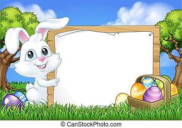 konijntje, eitjes, pasen, meldingsbord, spotprent, achtergrond, konijn