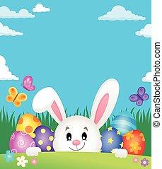 konijntje, eitjes, pasen, thema, zich het verschuilen