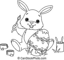 konijntje, schilderij, paasei, kleuren, pagina