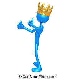 koning, beduimelt omhoog, twee
