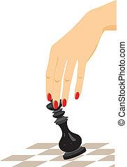 koning, black , schaakspel, vrouwelijke hand