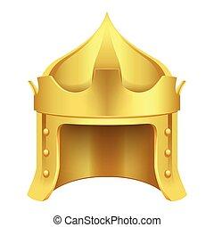 koning, gouden kroon, vrijstaand, illustratie, spotprent