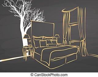 koning, grootte, appartment, schets, op, chalkboard