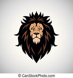 koning, hoofd, boos, leeuw, ontwerp, logo, mascotte