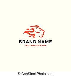 koning, hoofd, vuur, illustratie, leeuw, vector, vlam, mal, logo, pictogram