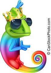 koning, kameleon, karakter, hagedis, spotprent, koel