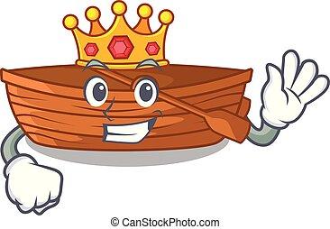 koning, macot, houten, naast, strand, scheepje
