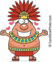 koning, omhelzing, spotprent, aztec