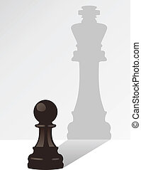 koning, schaduw, vector, schaakspel, pion