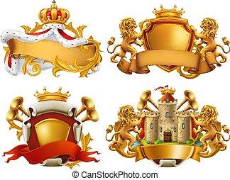 koning, set, embleem, arms., jassen, vector, kingdom., 3d