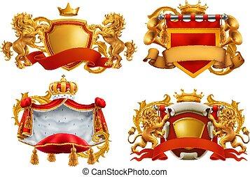 koning, set, embleem, jas, koninklijk, arms., vector, kingdom., 3d