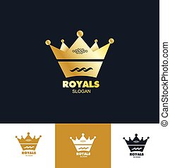 koning, set, koninklijke kroon, logo, pictogram