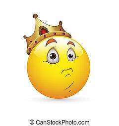 koning, smiley, uitdrukking, pictogram