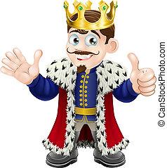 koning, spotprent, mascotte