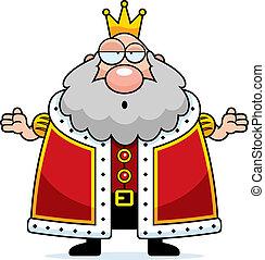 koning, spotprent, verward