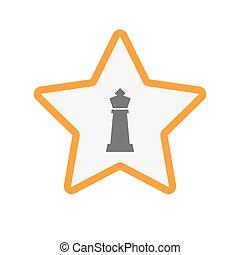 koning, ster, vrijstaand, figuur, schaakspel