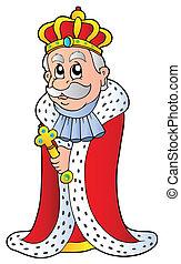 koning, vasthouden, sceptre