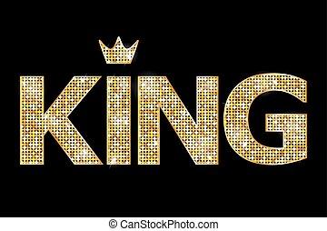 koning, vector, illustratie, goud