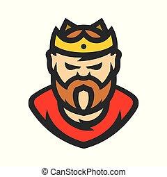 koning, vector, spotprent, illustration.