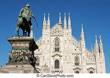 koning, vittorio, emanuele, ii, milaan, monument, kathedraal