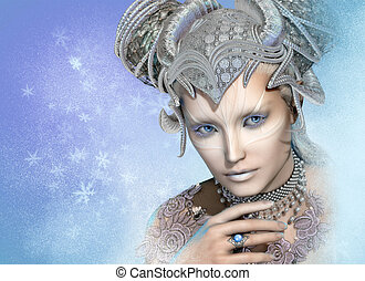 koningin, cg, sneeuw, 3d