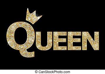 koningin, goud, illustratie, -, vector